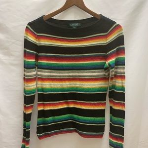 LRL black rainbow striped long sleeve sweater PS